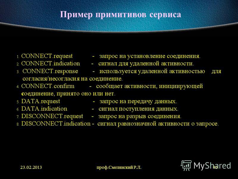 23.02.2013проф.Смелянский Р.Л.43 Пример примитивов сервиса