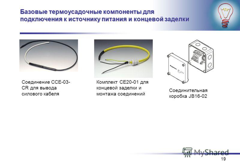 19 Базовые термоусадочные компоненты для подключения к источнику питания и концевой заделки Соединение CCE-03- CR для вывода силового кабеля Комплект CE20-01 для концевой заделки и монтажа соединений Соединительная коробка JB16-02