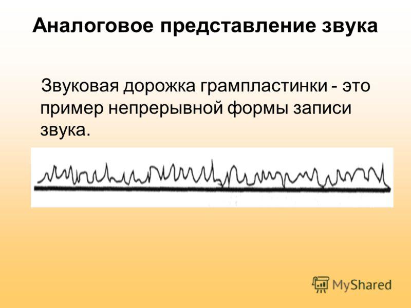 Аналоговое представление звука Звуковая дорожка грампластинки - это пример непрерывной формы записи звука.