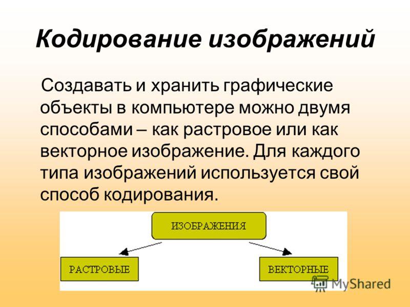 Кодирование изображений Создавать и хранить графические объекты в компьютере можно двумя способами – как растровое или как векторное изображение. Для каждого типа изображений используется свой способ кодирования.