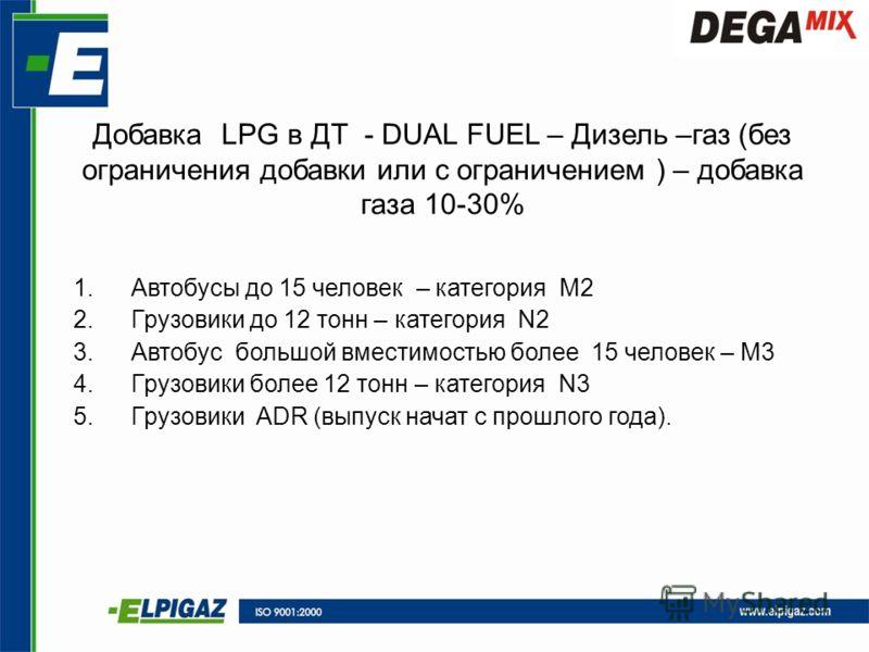 Добавка LPG в ДТ - DUAL FUEL – Дизель –газ (без ограничения добавки или с ограничением ) – добавка газа 10-30% 1.Автобусы до 15 человек – категория M2 2.Грузовики до 12 тонн – категория N2 3.Автобус большой вместимостью более 15 человек – M3 4.Грузов