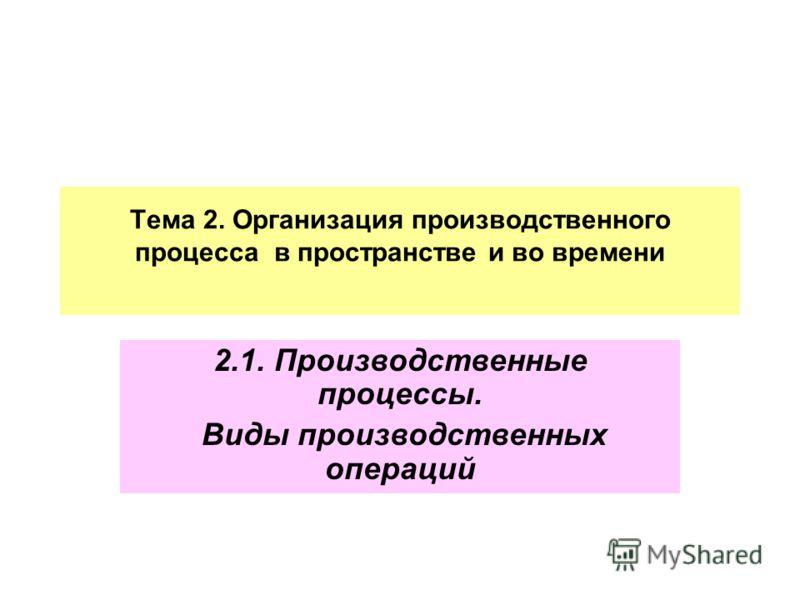 Тема 2. Организация производственного процесса в пространстве и во времени 2.1. Производственные процессы. Виды производственных операций