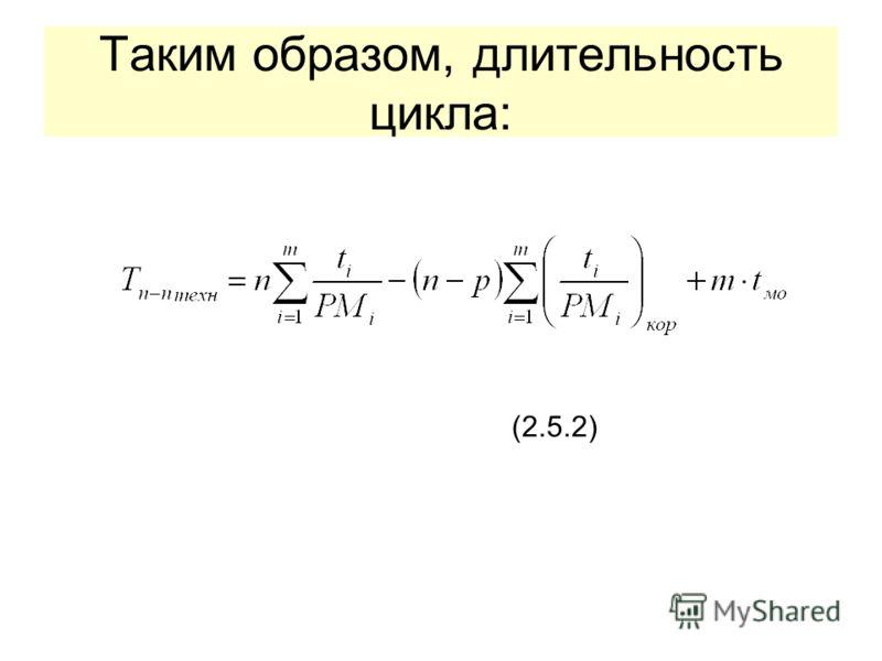 Таким образом, длительность цикла: (2.5.2)