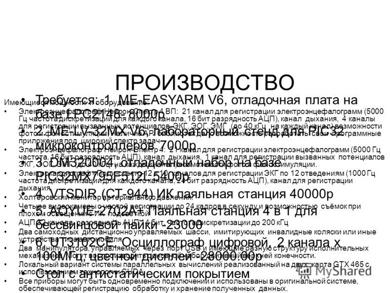 ПРОИЗВОДСТВО Имеющиеся мощности и оборудование: Электроэнцефалограф Нейрон-Спектр 4 ВП: 21 канал для регистрации электроэнцефалограмм (5000 Гц частота дискретизации для каждого канала, 16 бит разрядность АЦП), канал дыхания, 4 каналы для регистрации