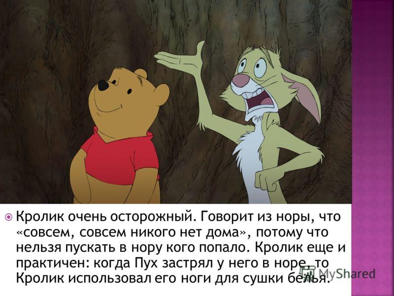 Кролик очень осторожный. Говорит из норы, что «совсем, совсем никого нет дома», потому что нельзя пускать в нору кого попало. Кролик еще и практичен: когда Пух застрял у него в норе, то Кролик использовал его ноги для сушки белья.