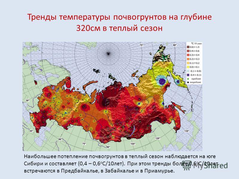 Тренды температуры почвогрунтов на глубине 320см в теплый сезон Наибольшее потепление почвогрунтов в теплый сезон наблюдается на юге Сибири и составляет (0,4 – 0,6 о С/10лет). При этом тренды более 0,6 о С/10лет встречаются в Предбайкалье, в Забайкал