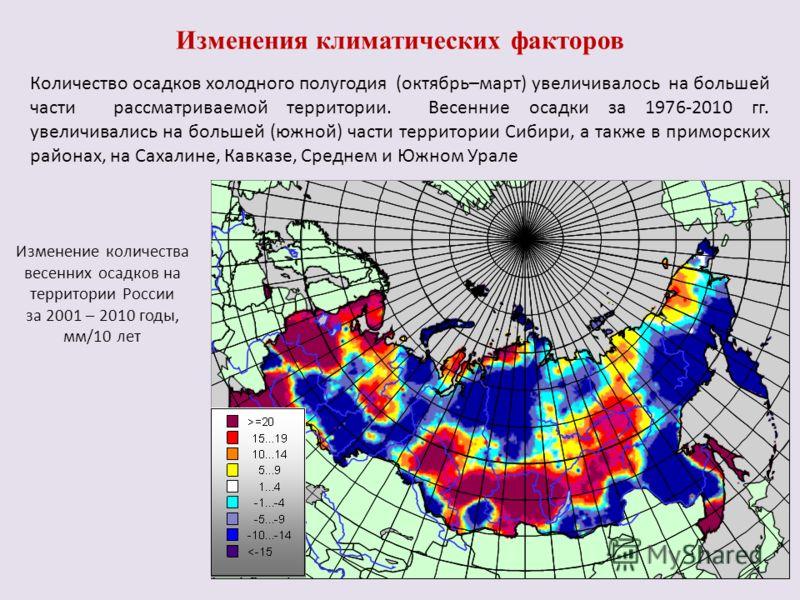 Изменение количества весенних осадков на территории России за 2001 – 2010 годы, мм/10 лет Изменения климатических факторов Количество осадков холодного полугодия (октябрь–март) увеличивалось на большей части рассматриваемой территории. Весенние осадк
