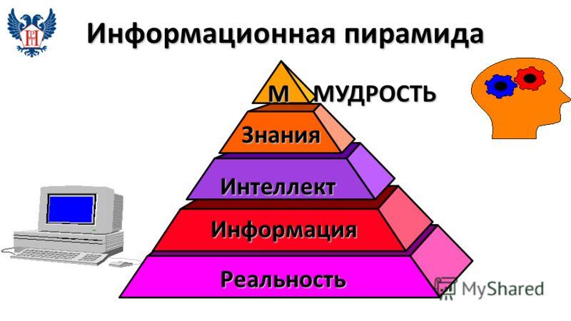Информационная пирамида Реальность Информация Знания М МУДРОСТЬ Интеллект