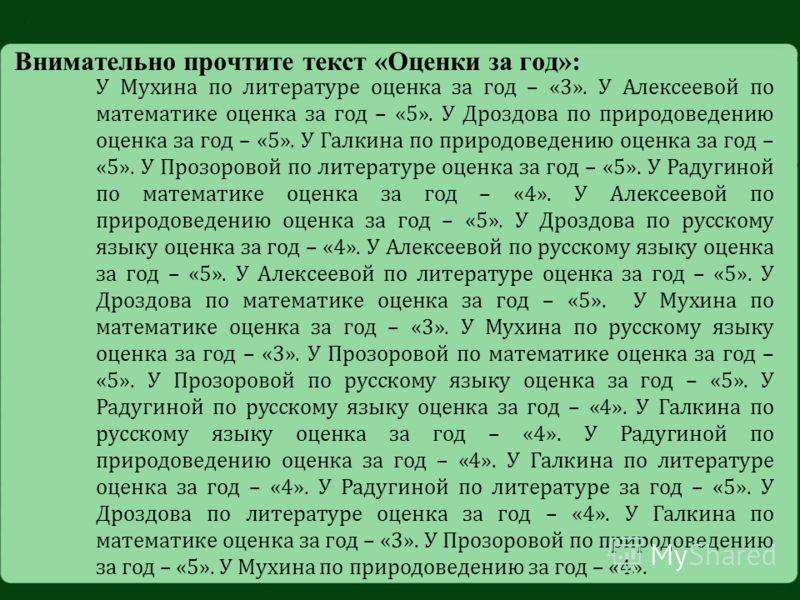 Внимательно прочтите текст «Оценки за год»: У Мухина по литературе оценка за год – «3». У Алексеевой по математике оценка за год – «5». У Дроздова по природоведению оценка за год – «5». У Галкина по природоведению оценка за год – «5». У Прозоровой по