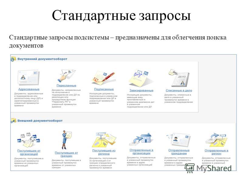 Стандартные запросы Стандартные запросы подсистемы – предназначены для облегчения поиска документов