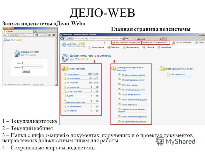 ДЕЛО-WEB Запуск подсистемы «Дело-Web» Главная страница подсистемы 1 – Текущая картотека 2 – Текущий кабинет 3 – Папки с информацией о документах, поручениях и о проектах документов, направляемых должностным лицам для работы 4 – Сохраненные запросы по