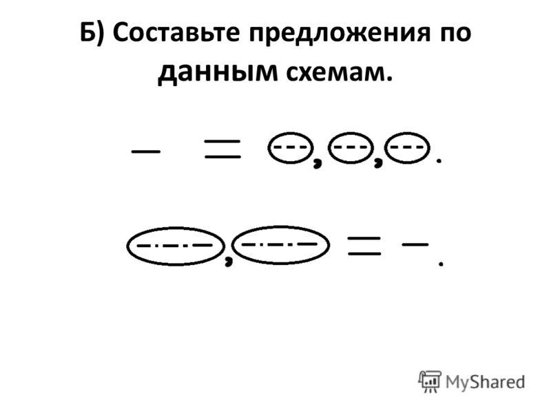 Б) Составьте предложения по данным схемам.