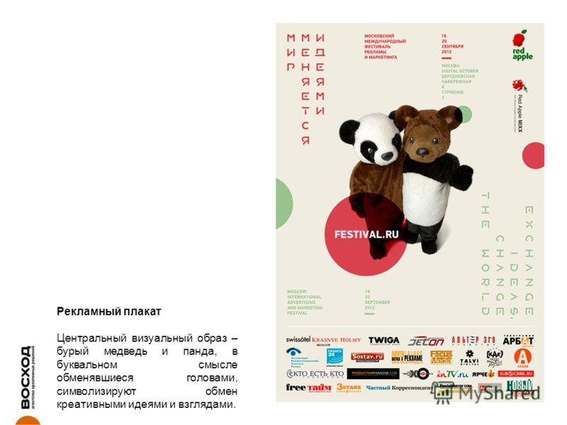 Рекламный плакат Центральный визуальный образ – бурый медведь и панда, в буквальном смысле обменявшиеся головами, символизируют обмен креативными идеями и взглядами.