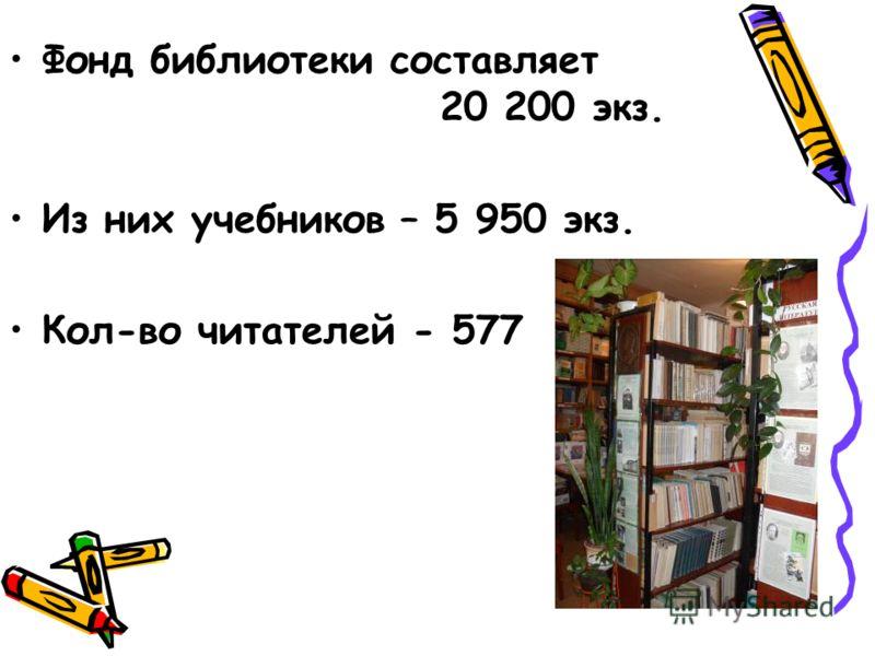 Фонд библиотеки составляет 20 200 экз. Из них учебников – 5 950 экз. Кол-во читателей - 577