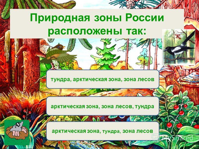 Вариант 1 (уровень 1) арктическая зона, тундра, зона лесов тундра, арктическая зона, зона лесов арктическая зона, зона лесов, тундра Природная зоны России расположены так: