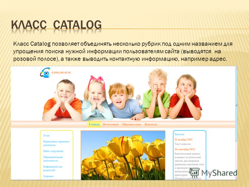Класс Catalog позволяет объединять несколько рубрик под одним названием для упрощения поиска нужной информации пользователям сайта (выводятся на розовой полосе), а также выводить контактную информацию, например адрес.