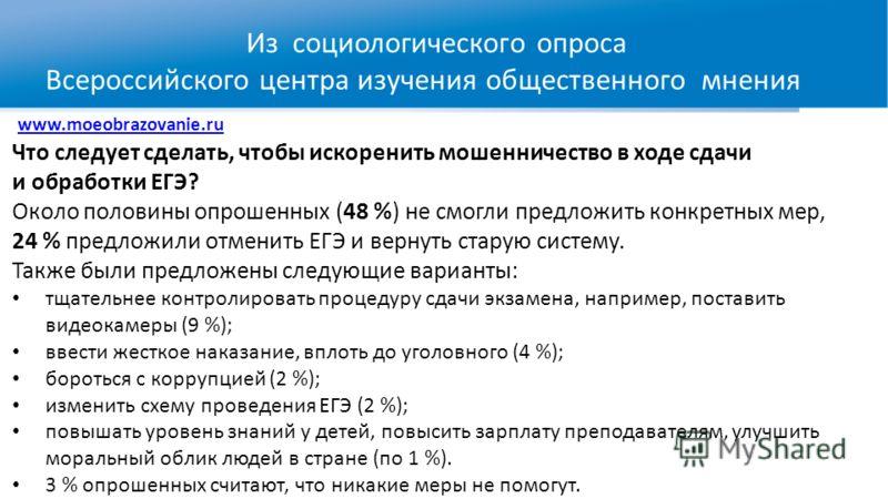 www.moeobrazovanie.ru Что следует сделать, чтобы искоренить мошенничество в ходе сдачи и обработки ЕГЭ? Около половины опрошенных (48 %) не смогли предложить конкретных мер, 24 % предложили отменить ЕГЭ и вернуть старую систему. Также были предложены