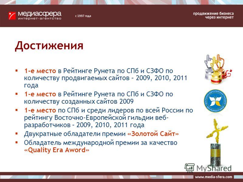 Достижения 1-е место в Рейтинге Рунета по СПб и СЗФО по количеству продвигаемых сайтов – 2009, 2010, 2011 года 1-е место в Рейтинге Рунета по СПб и СЗФО по количеству созданных сайтов 2009 1-е место по СПб и среди лидеров по всей России по рейтингу В