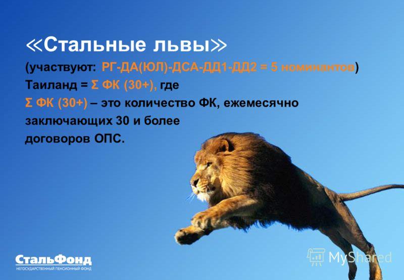 33 Конкурсы Стальные львы (участвуют: РГ-ДА(ЮЛ)-ДСА-ДД1-ДД2 = 5 номинантов) Таиланд = Σ ФК (30+), где Σ ФК (30+) – это количество ФК, ежемесячно заключающих 30 и более договоров ОПС.