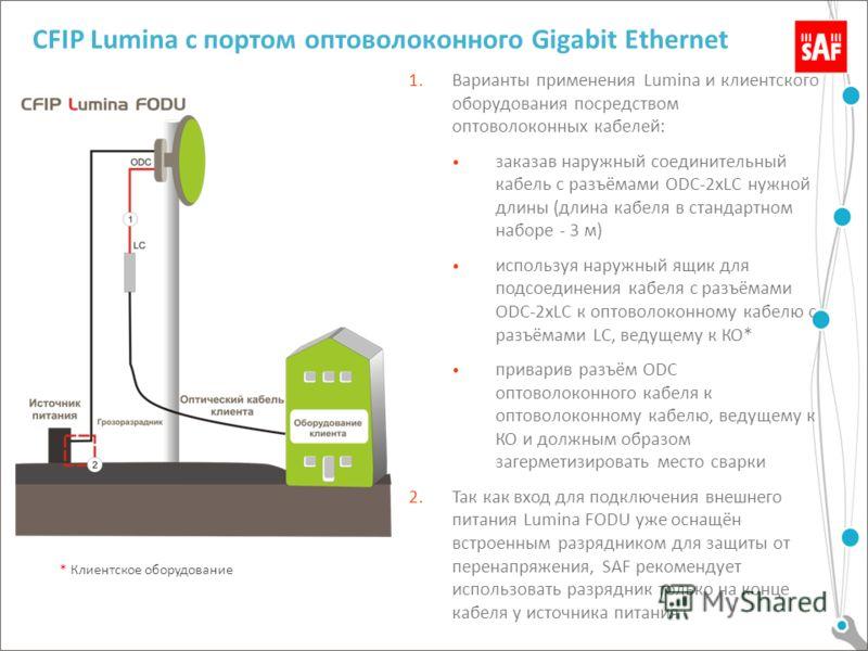 CFIP Lumina с портом оптоволоконного Gigabit Ethernet 1.Варианты применения Lumina и клиентского оборудования посредством оптоволоконных кабелей: заказав наружный соединительный кабель с разъёмами ODC-2хLC нужной длины (длина кабеля в стандартном наб