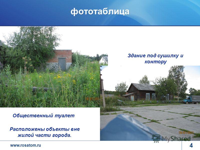 www.rosatom.ru фототаблица 4 Общественный туалет Расположены объекты вне жилой части города. Здание под сушилку и контору