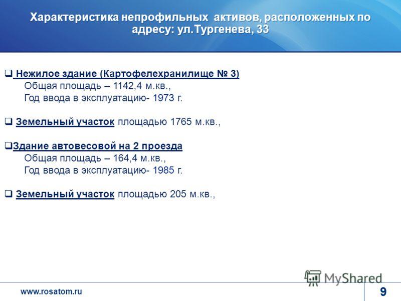 www.rosatom.ru 9 Характеристика непрофильных активов, расположенных по адресу: ул.Тургенева, 33 9 Программа деятельности ГК до 2015 года Повышение эффективности корпоративной системы управления Формирования лояльного, мотивированного и квалифицирован
