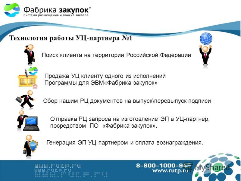 Технология работы УЦ-партнера 1 Поиск клиента на территории Российской Федерации Генерация ЭП УЦ-партнером и оплата вознаграждения. Сбор нашим РЦ документов на выпуск\перевыпуск подписи Отправка РЦ запроса на изготовление ЭП в УЦ-партнер, посредством