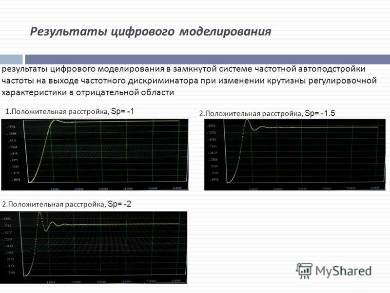 Результаты цифрового моделирования результаты цифрового моделирования в замкнутой системе частотной автоподстройки частоты на выходе частотного дискриминатора при изменении крутизны регулировочной характеристики в отрицательной области 1.Положительна