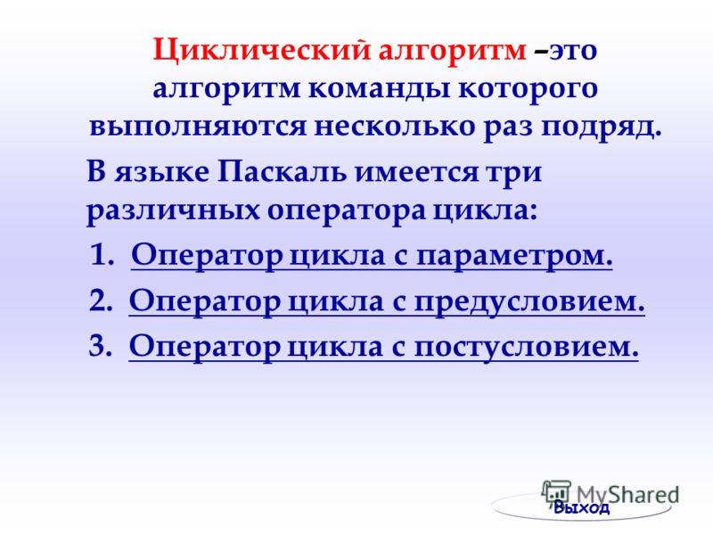 Циклический алгоритм –это алгоритм команды которого выполняются несколько раз подряд. В языке Паскаль имеется три различных оператора цикла: 1. Оператор цикла с параметром.Оператор цикла с параметром. 2. Оператор цикла с предусловием.Оператор цикла с