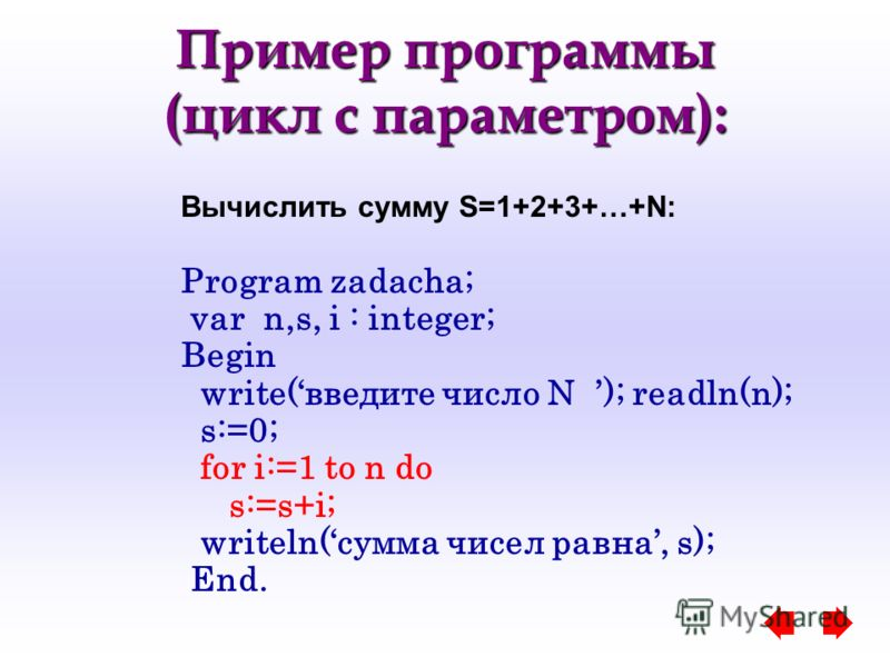 Пример программы (цикл с параметром): Вычислить сумму S=1+2+3+…+N: Program zadacha; var n,s, i : integer; Begin write(введите число N ); readln(n); s:=0; for i:=1 to n do s:=s+i; writeln(сумма чисел равна, s); End.