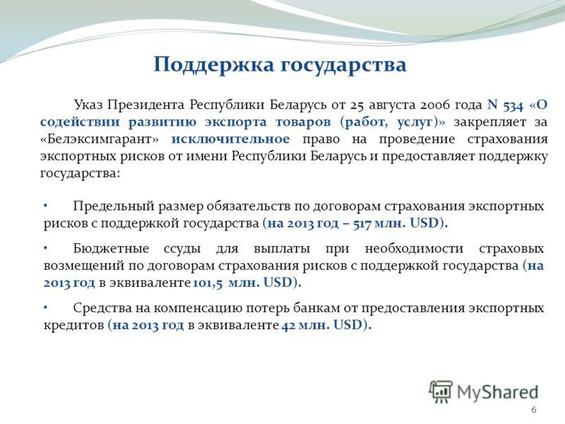 Указ Президента Республики Беларусь от 25 августа 2006 года N 534 «О содействии развитию экспорта товаров (работ, услуг)» закрепляет за «Белэксимгарант» исключительное право на проведение страхования экспортных рисков от имени Республики Беларусь и п