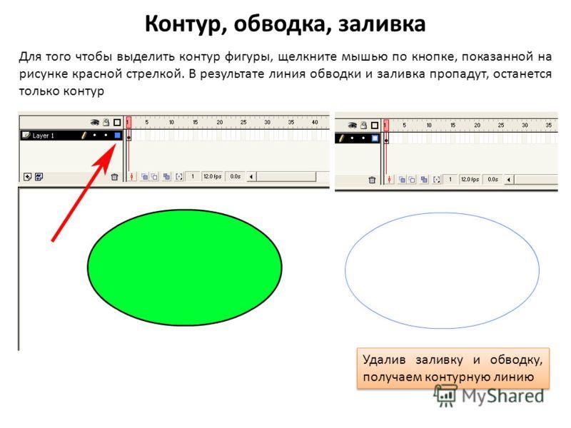 Контур, обводка, заливка Для того чтобы выделить контур фигуры, щелкните мышью по кнопке, показанной на рисунке красной стрелкой. В результате линия обводки и заливка пропадут, останется только контур Удалив заливку и обводку, получаем контурную лини