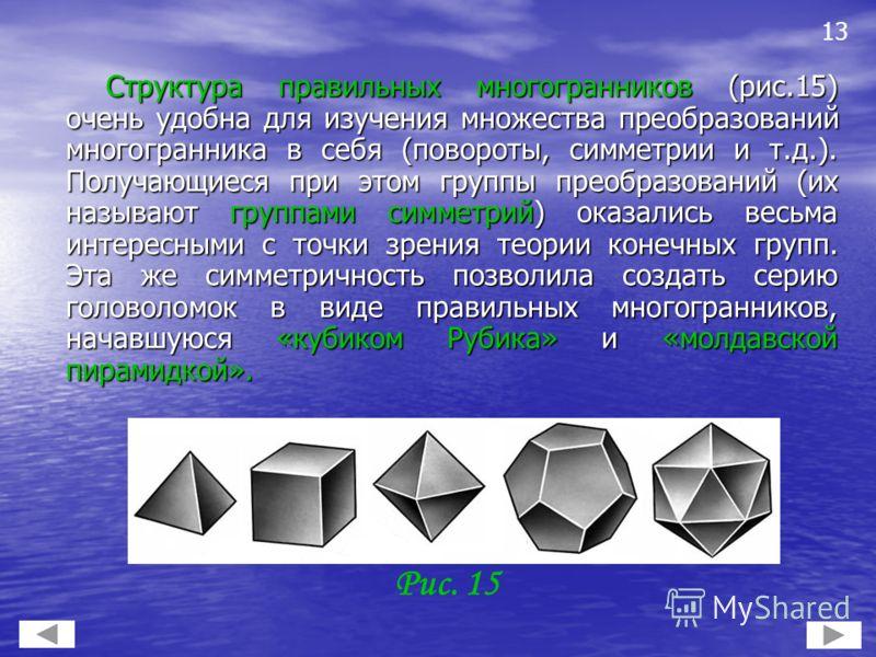 Структура правильных многогранников (рис.15) очень удобна для изучения множества преобразований многогранника в себя (повороты, симметрии и т.д.). Получающиеся при этом группы преобразований (их называют группами симметрий) оказались весьма интересны