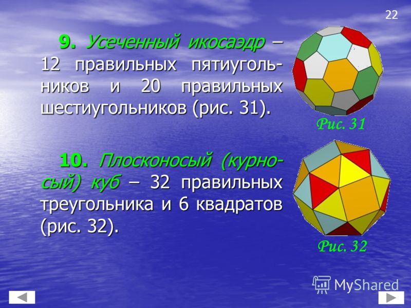 9. Усеченный икосаэдр – 12 правильных пятиуголь- ников и 20 правильных шестиугольников (рис. 31). 9. Усеченный икосаэдр – 12 правильных пятиуголь- ников и 20 правильных шестиугольников (рис. 31). 10. Плосконосый (курно- сый) куб – 32 правильных треуг