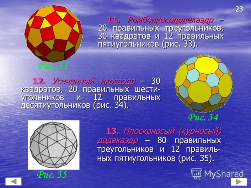 13. Плосконосый (курносый) додекаэдр – 80 правильных треугольников и 12 правиль- ных пятиугольников (рис. 35). 13. Плосконосый (курносый) додекаэдр – 80 правильных треугольников и 12 правиль- ных пятиугольников (рис. 35). 23 12. Усеченный икосаэдр –