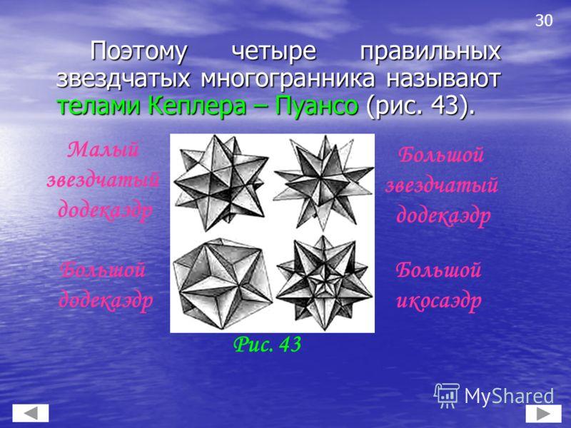 Поэтому четыре правильных звездчатых многогранника называют телами Кеплера – Пуансо (рис. 43). Поэтому четыре правильных звездчатых многогранника называют телами Кеплера – Пуансо (рис. 43). 30 Рис. 43 Большой звездчатый додекаэдр Малый звездчатый дод