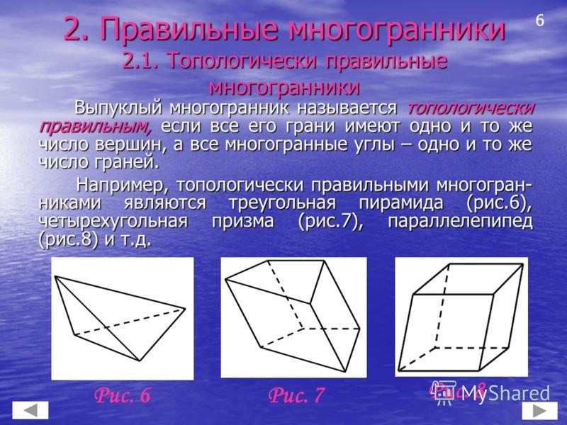 2. Правильные многогранники 2.1. Топологически правильные многогранники Выпуклый многогранник называется топологически правильным, если все его грани имеют одно и то же число вершин, а все многогранные углы – одно и то же число граней. Выпуклый много