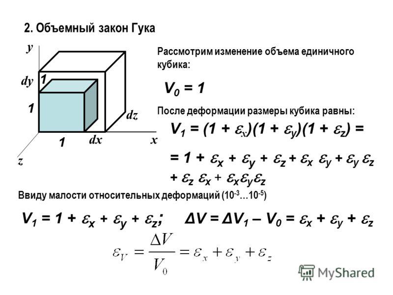 2. Объемный закон Гука x y z 1 1 1 dx dy dz Рассмотрим изменение объема единичного кубика: V 0 = 1 После деформации размеры кубика равны: V 1 = (1 + x )(1 + y )(1 + z ) = = 1 + x + y + z + x y + y z + z x + x y z Ввиду малости относительных деформаци