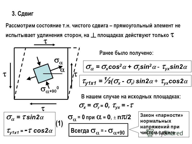 3. Сдвиг Рассмотрим состояние т.н. чистого сдвига – прямоугольный элемент не испытывает удлинения сторон, на площадках действуют только +90 0 Ранее было получено: = x cos 2 + y sin 2 - yx sin2 y1x1 = ½ ( x - y ) sin2 + yx cos2 В нашем случае на исход