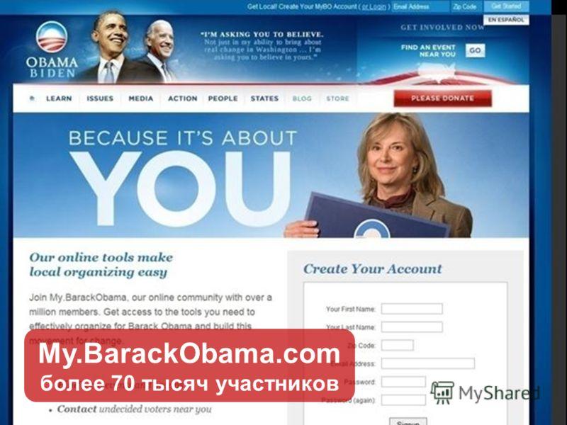 My.BarackObama.com более 70 тысяч участников