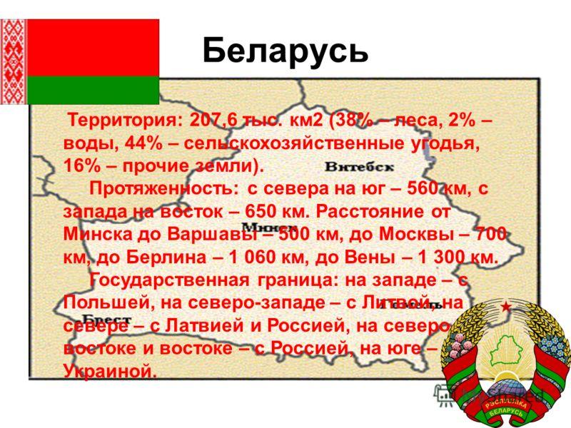 Беларусь Территория: 207,6 тыс. км2 (38% – леса, 2% – воды, 44% – сельскохозяйственные угодья, 16% – прочие земли). Протяженность: с севера на юг – 560 км, с запада на восток – 650 км. Расстояние от Минска до Варшавы – 500 км, до Москвы – 700 км, до