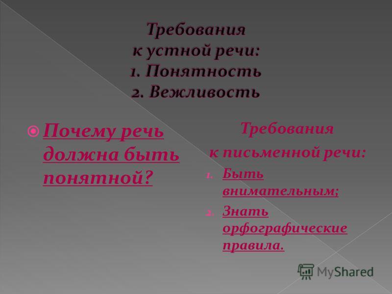 Почему речь должна быть понятной? Требования к письменной речи: 1. Быть внимательным; 2. Знать орфографические правила.