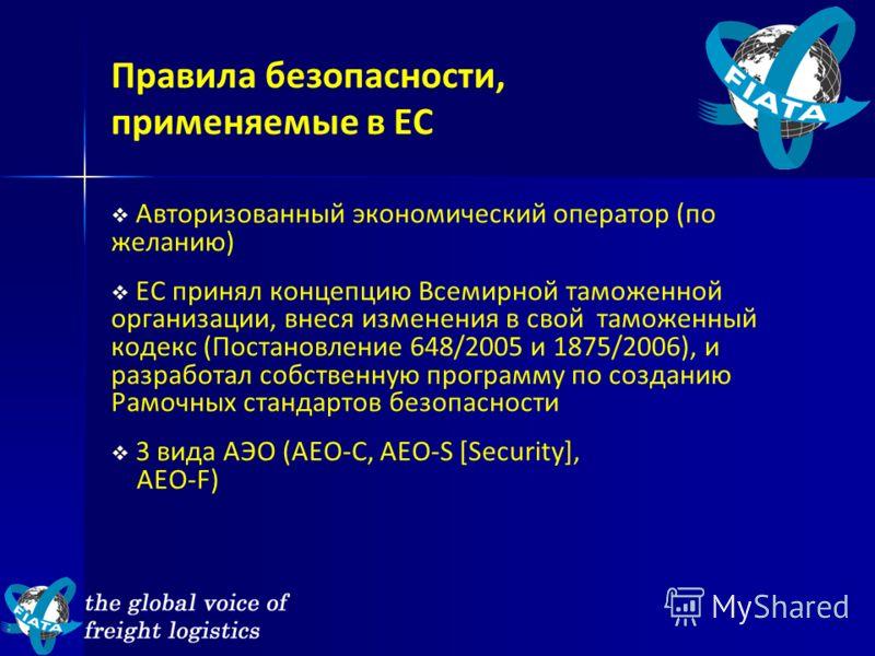 Авторизованный экономический оператор (по желанию) ЕС принял концепцию Всемирной таможенной организации, внеся изменения в свой таможенный кодекс (Постановление 648/2005 и 1875/2006), и разработал собственную программу по созданию Рамочных стандартов