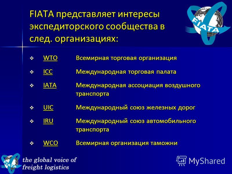 FIATA представляет интересы экспедиторского сообщества в след. организациях: WTOВсемирная торговая организация WTOВсемирная торговая организация ICCМеждународная торговая палата ICCМеждународная торговая палата IATAМеждународная ассоциация воздушного