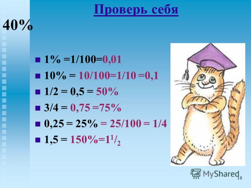 Проверь себя 1% =1/100=0,01 10% = 10/100=1/10 =0,1 1/2 = 0,5 = 50% 3/4 = 0,75 =75% 0,25 = 25% = 25/100 = 1/4 1,5 = 150%=1 1 / 2 40% 16