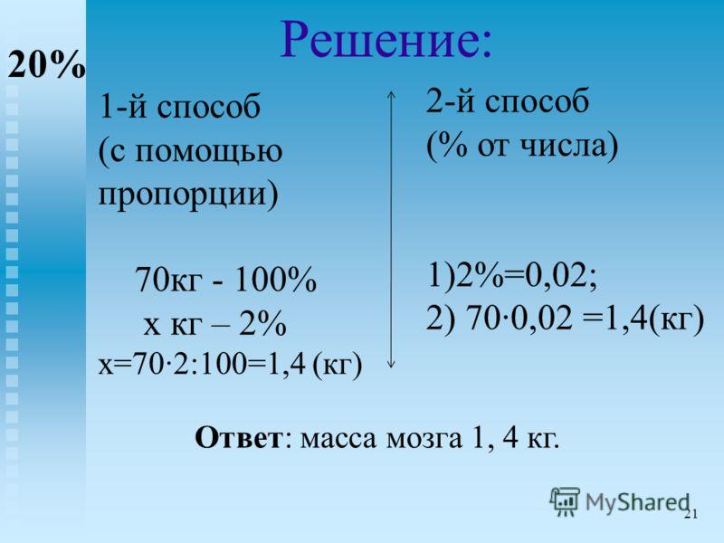 1-й способ (с помощью пропорции) 70кг - 100% х кг – 2% х=702:100=1,4 (кг) 2-й способ (% от числа) 1)2%=0,02; 2) 700,02 =1,4(кг) Решение: 20% Ответ: масса мозга 1, 4 кг. 21