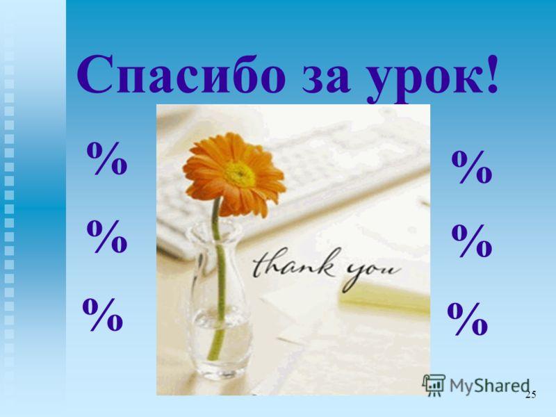 Спасибо за урок! % % % % % % 25
