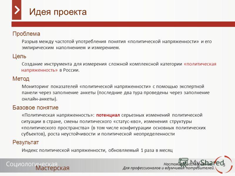 3 Проблема Разрыв между частотой употребления понятия «политической напряженности» и его эмпирическим наполнением и измерением. Цель Создание инструмента для измерения сложной комплексной категории «политическая напряженность» в России. Метод Монитор
