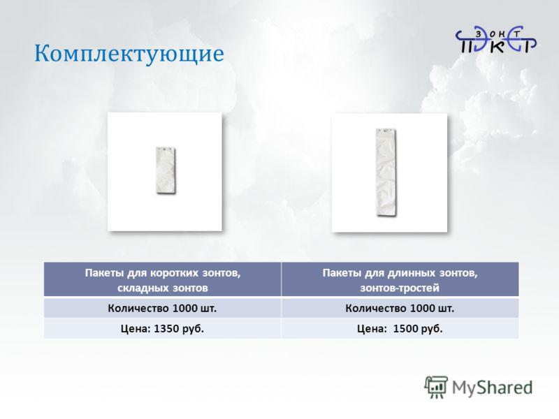 Комплектующие Пакеты для коротких зонтов, складных зонтов Пакеты для длинных зонтов, зонтов-тростей Количество 1000 шт. Цена: 1350 руб.Цена: 1500 руб.