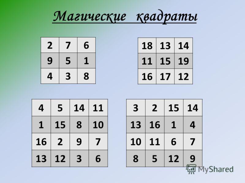 Магические квадраты 276 951 438 181314 111519 161712 451411 115810 16297 131236 321514 131614 101167 85129